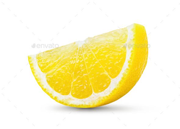 Lemon and cut half slice isolated on white background - Stock Photo - Images