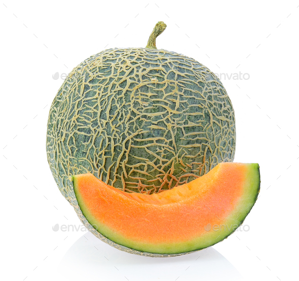 cantaloupe melon isolated on white background - Stock Photo - Images