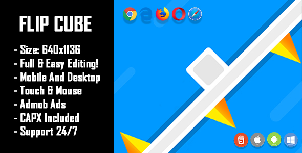 Flip Cube - HTML5 Game + Mobile Version! (Construct 2 / Construct 3 / CAPX)            Nulled