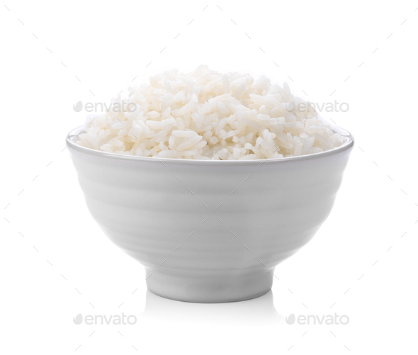 rice in a white bowl on white background - Stock Photo - Images