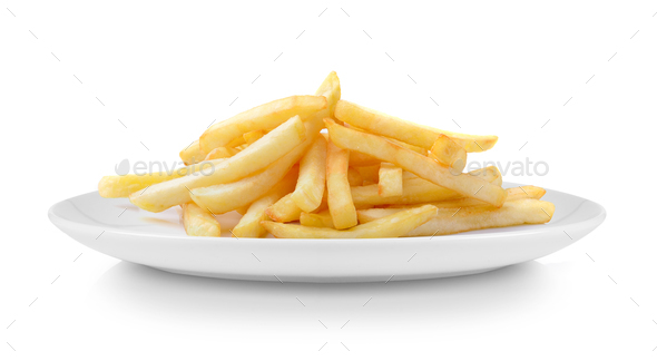 French fries in plate isolated on white background - Stock Photo - Images