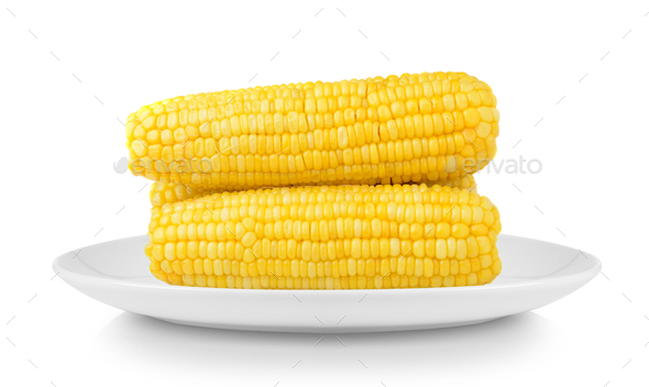 corn in plate isolated on white background - Stock Photo - Images