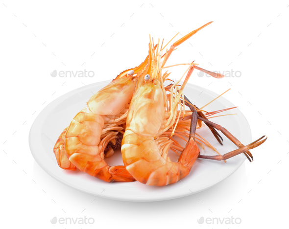 Boiled shrimp in plate on white background - Stock Photo - Images