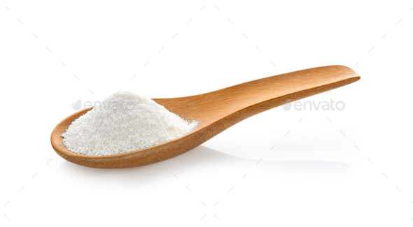 Creamer, Coffee whitener, Non-dairy creamer in wood spoon on whi - Stock Photo - Images
