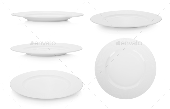 collection of white plate on white background - Stock Photo - Images