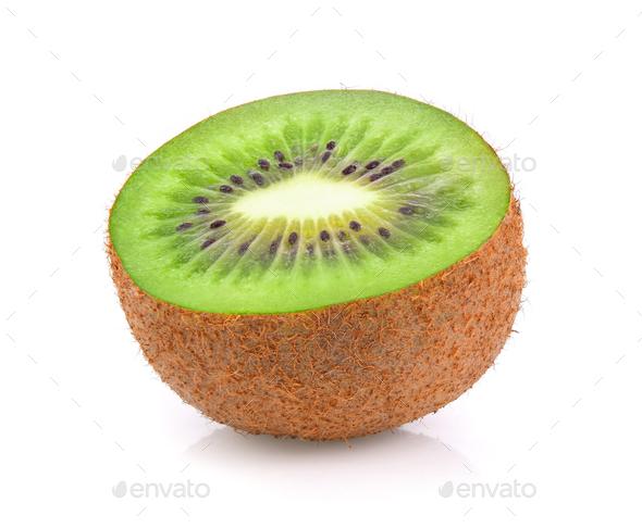 Slice of fresh kiwi fruit isolated on white background - Stock Photo - Images