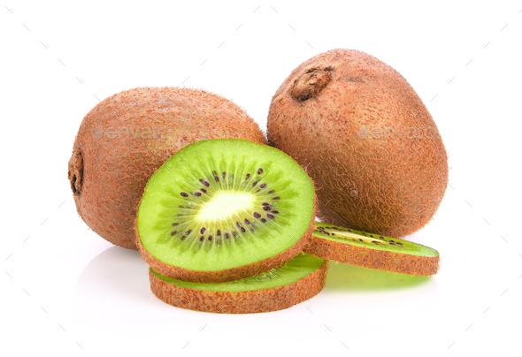 kiwi fruit on white background - Stock Photo - Images