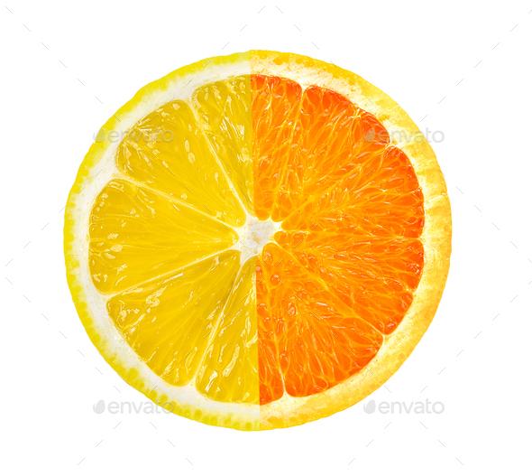 lemon slice and orange on white background. saved with clipping - Stock Photo - Images