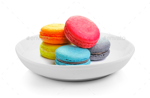 macarons in plate on white background - Stock Photo - Images
