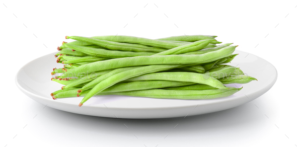 Green beans in a plate isolated on a white background - Stock Photo - Images