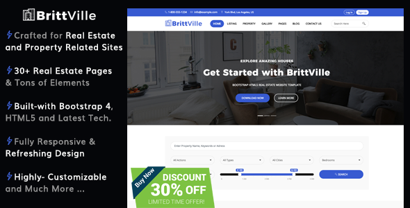 BrittVille - Real Estate HTML5 Bootstrap 4 Website Template - Business Corporate