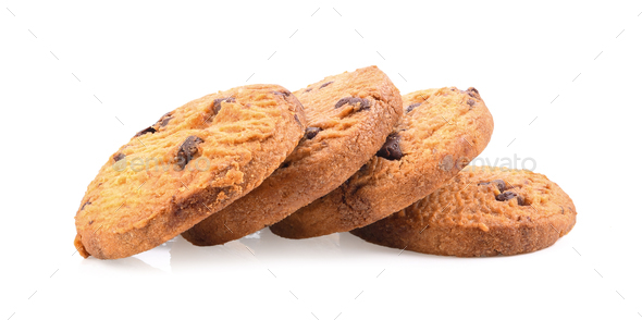 chocolate chip cookies on white background - Stock Photo - Images