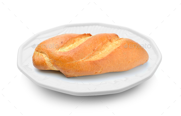 bread in a plate on white background - Stock Photo - Images