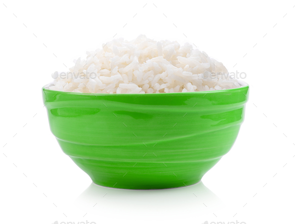 rice in green bowl on white background - Stock Photo - Images