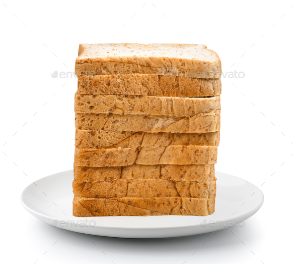 sliced bread in plate isolated on a white background - Stock Photo - Images