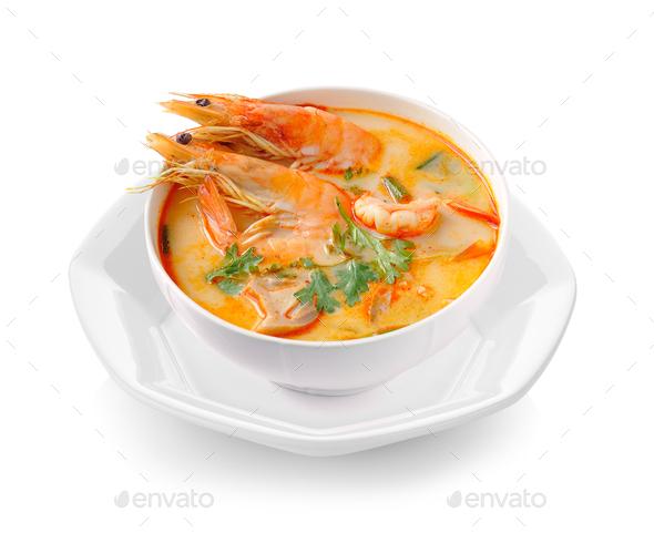 Tom Yam Kung (Thai cuisine) isolated on white background - Stock Photo - Images
