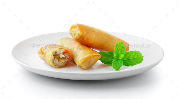 Spring rolls food in a plate isolated on a white background - Stock Photo - Images