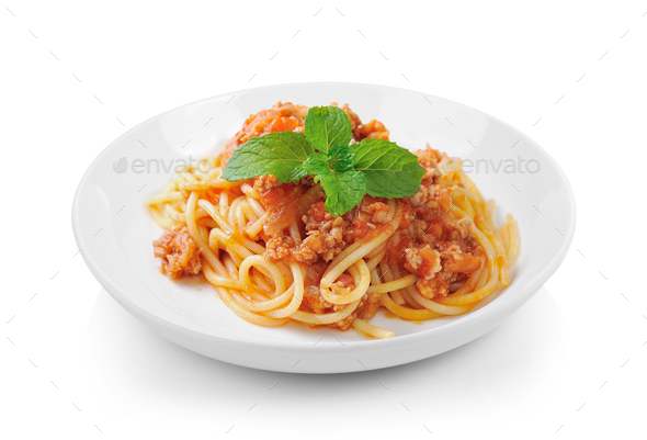 Spaghetti Pasta With Tomato Beef Sauce In Plate On White Backgro