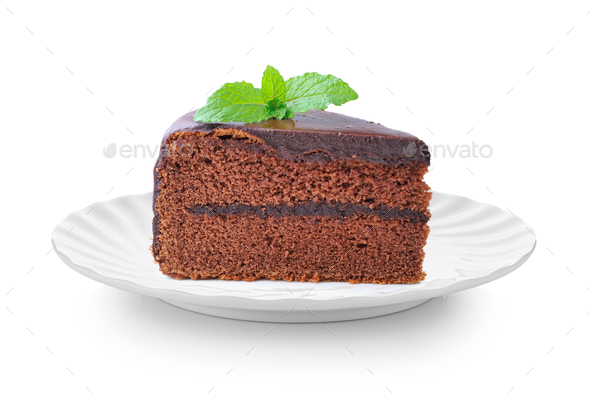 piece of chocolate cake in white plate on white background - Stock Photo - Images