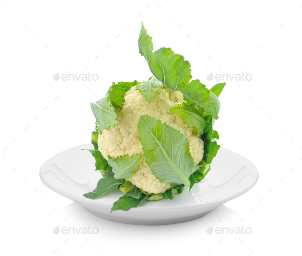 cauliflower in plate on white background - Stock Photo - Images