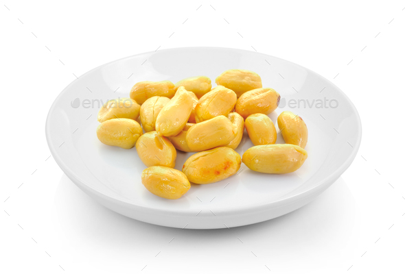 peanuts in plate on white background - Stock Photo - Images