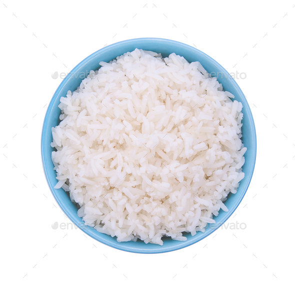 Rice in a bowl on white background - Stock Photo - Images