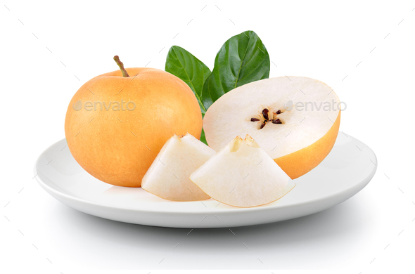 pear fruit in plate isolated on a white background - Stock Photo - Images