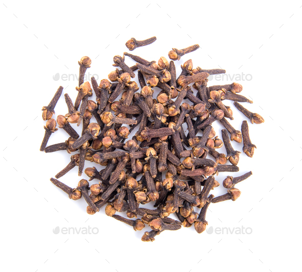 cloves spices on white background top view - Stock Photo - Images
