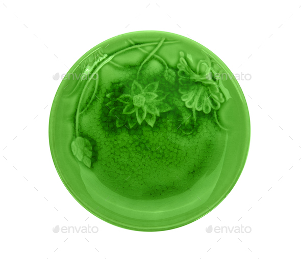 green ceramic plate on white background - Stock Photo - Images