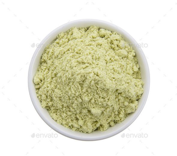 whey protein in a white bowl on a white background. - Stock Photo - Images