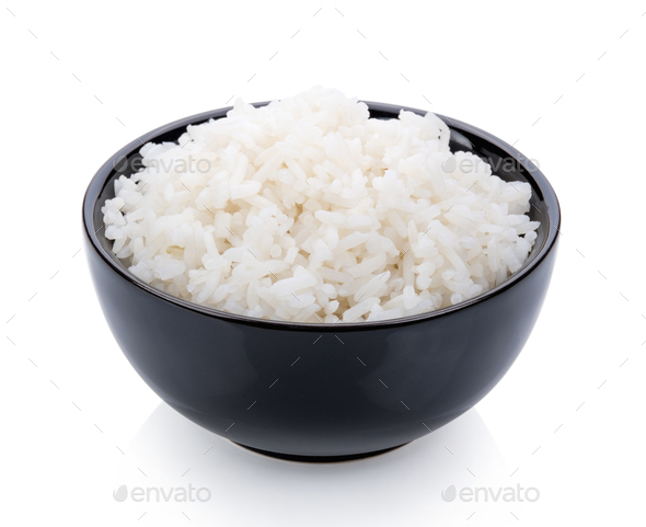 Rice cooker in a black bowl on white background - Stock Photo - Images