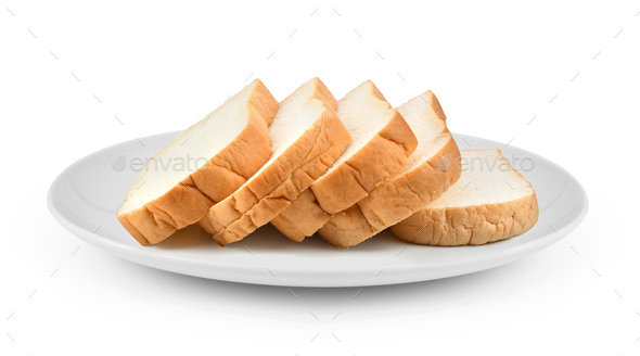 sliced bread in plate isolated on white background - Stock Photo - Images
