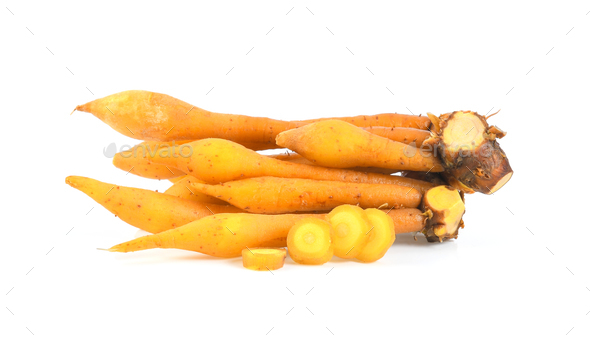 finger root (Krachai) Thai herb isolated on white background - Stock Photo - Images