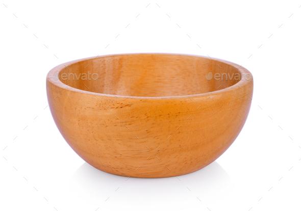 empty wood bowl on white background - Stock Photo - Images