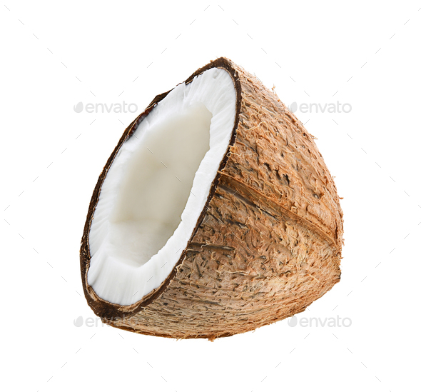 Half coconut isolated on white background - Stock Photo - Images