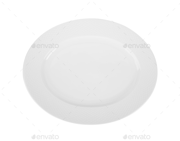 plate on white background. top view - Stock Photo - Images