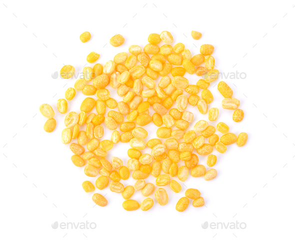 Green beans seeds on white background. top view - Stock Photo - Images