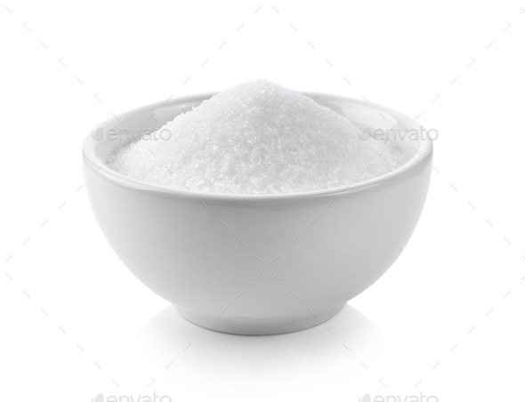 sugar in white bowl on white background - Stock Photo - Images