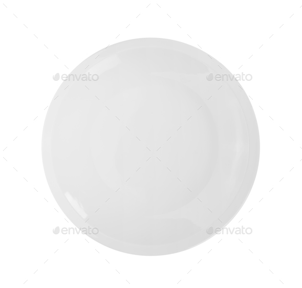top view plate on white background - Stock Photo - Images