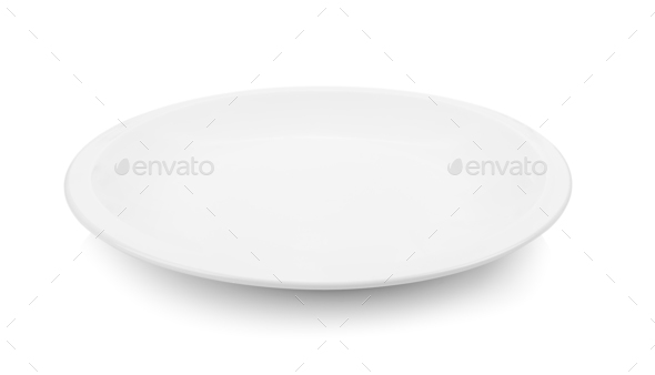 Empty plate on white background - Stock Photo - Images