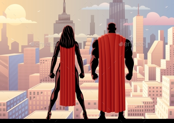 Superhero Couple Watch Day - People Characters