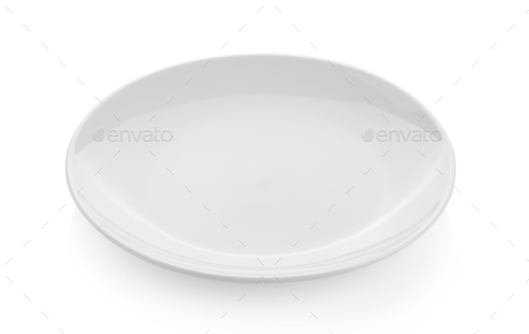 empty dish isolated on white background - Stock Photo - Images
