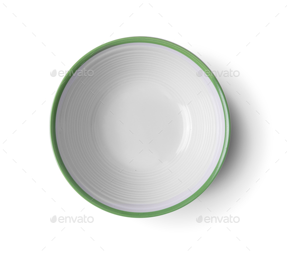 top view vintage ceramic bowl on white background - Stock Photo - Images
