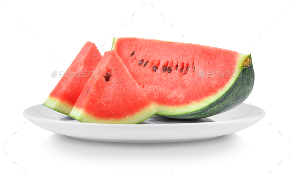 watermelon in plate isolated on white background - Stock Photo - Images