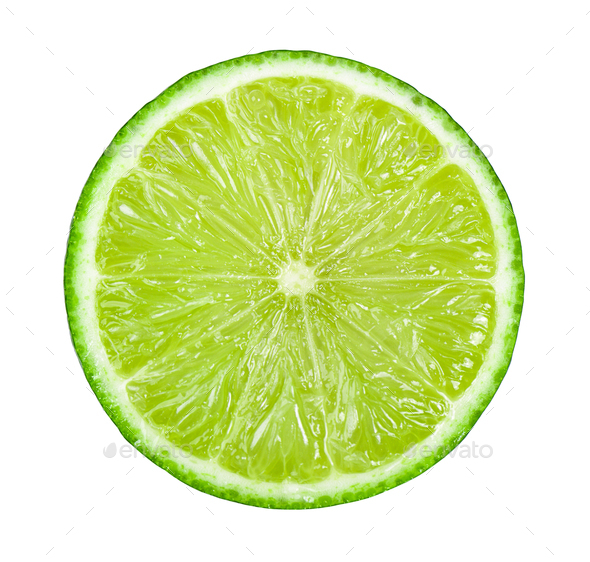 Juicy slice of lime isolated on white background - Stock Photo - Images