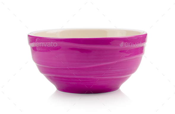 pink bowl on white background - Stock Photo - Images