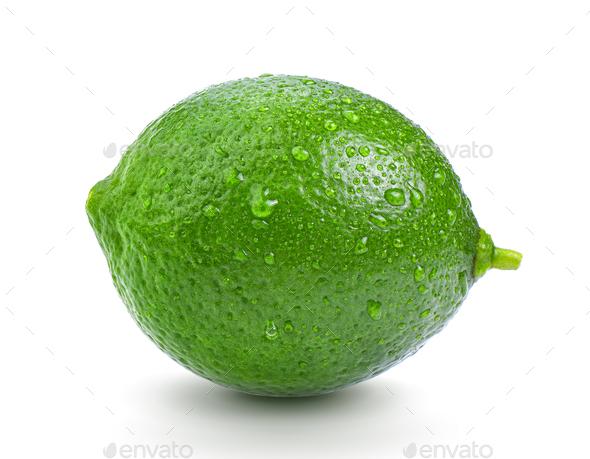 fresh lime on white background - Stock Photo - Images