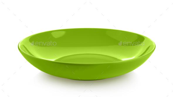 ceramic green dish isolated on white background - Stock Photo - Images