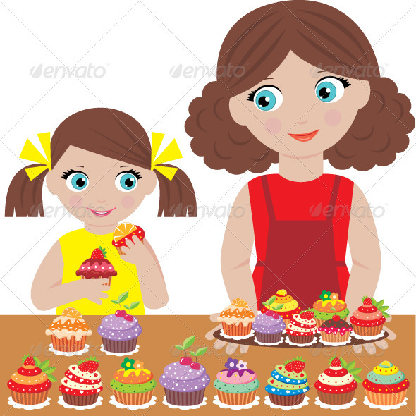 Mother with the daughter bake cupcakes - People Characters