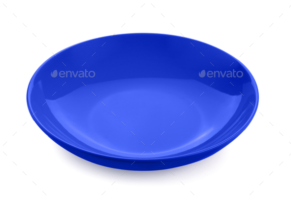 empty red plate isolated on white background - Stock Photo - Images